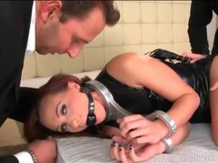 Slave girl looks sexy in black leather dress movies