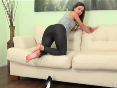 Skintight black leggings on alyssa reece movies at lingerie-mania.com