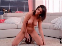 Curvy girl sits her hot pussy on a football movies at find-best-hardcore.com