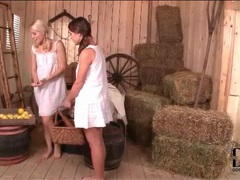 Pigtailed lesbians in the barn suck titties videos