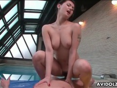 Tattooed japanese girl is great at riding cock tubes at lingerie-mania.com