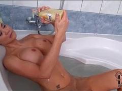 Fake titty jasmine jae masturbates in the tub movies at lingerie-mania.com