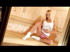Teen pleasures her pussy in the sauna videos