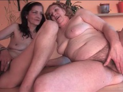 Horny grannies in lesbian fondling video videos