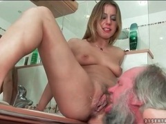 Grandpa eats his creampie out of nikky thorne movies at lingerie-mania.com