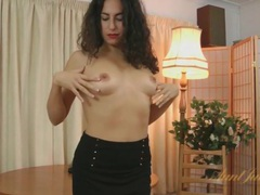Skirt and stockings on curly hair brunette videos