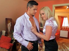 Sexy blonde in satin blouse sucks cock movies at sgirls.net