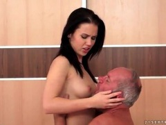 Hard grandpa cock sucked by sexy brunette movies at sgirls.net