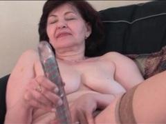 Dildo fucks hairy granny pussy solo videos