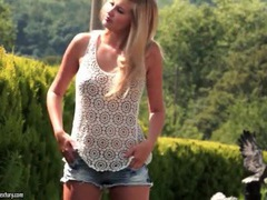 Blonde candy waist strips from cute lace top movies at find-best-tits.com