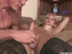 Blonde shemale gets sucked and rimmed by a stud movies at kilotop.com