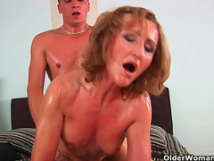 Grandma with cute titties gets fucked by guy half her age videos