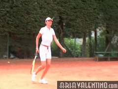 Aria valentino plays tennis outdoors videos