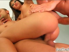 Anal whore banged by two men in threesome videos