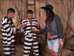 Cowgirl sucks big cocks of two prisoners movies at kilotop.com