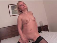 Horny solo mature masturbates in stockings movies at lingerie-mania.com