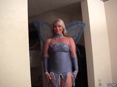 Curvy milf in costume sucks hard dick tubes