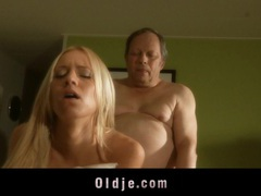 Sleazy old man fucks with jot young blonde in the kitchen movies at lingerie-mania.com