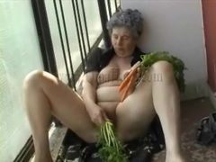 Carrots fill granny pussy in masturbation video movies at find-best-lesbians.com