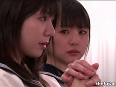 Cute asian schoolgirls fool around in church tubes at korean.sgirls.net