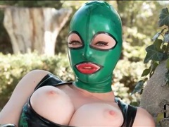 Latex lucy masturbates her pussy outdoors movies