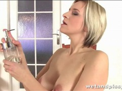 Blonde pees her panties and plays with them videos