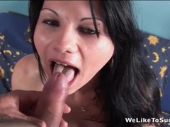 He cums on her tongue after hot blowjob movies at kilopills.com