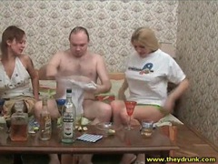 Two drunk chicks and guy switch clothes clip