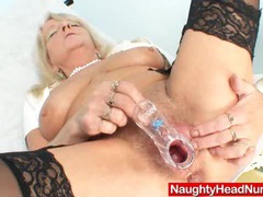 Grandma in uniform spreads blond shaggy piss hole movies at lingerie-mania.com