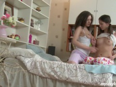Delicate teens karen and sophia in threesome movies at find-best-lingerie.com