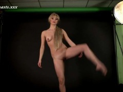 Shiny green spandex on skinny blonde girl movies at sgirls.net