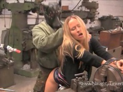 Cute blonde gets a full pussy service at her local garage videos