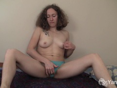 Curly haired nina fingering her slick quim videos