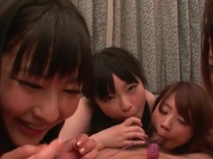 Five japanese girls lick and blow him tubes at lingerie-mania.com