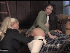 Hot busty lesbians enjoy licking and fucking in stables movies at sgirls.net