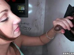Girl sucks off two guys at the gloryhole videos