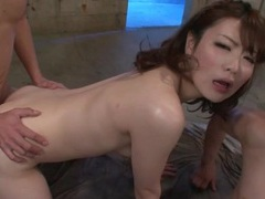 Young sexy slut in fishnets has threesome sex tubes at japanese.sgirls.net