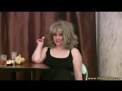 Curvy drunk blonde in stockings and boots movies at lingerie-mania.com