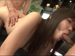Spit roasted japanese girl takes cock slowly videos