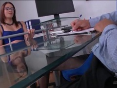 Boss in beautiful blue dress gives footjob movies at lingerie-mania.com