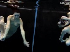 Skinny teens swim in the deep pool naked movies