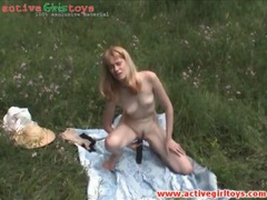 Teen on picnic masturbates with big toy movies at sgirls.net