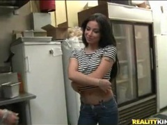 Latina strips in restaurant kitchen and sucks cock tubes
