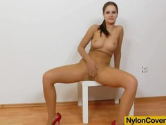 Brunette rides dildo in panty-hose videos