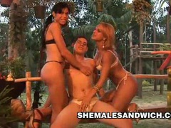 Carla renata & yris schimit - outdoor shemale domination videos