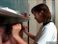 Schoolgirl strokes two dicks in classroom movies at sgirls.net