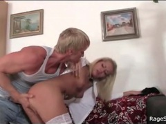 Angry man strips blonde slut and fingers her videos