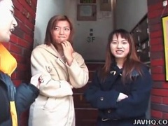 Japanese girls in coats flash in public movies at sgirls.net