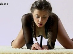Fishnet lingerie looks hot on teen gymnast videos
