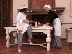 Ladies rub their feet in food for fun videos